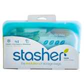 美國 Stasher 長形矽膠密封袋 (湖水藍/柑橙橘/萊姆綠/野莓紅)