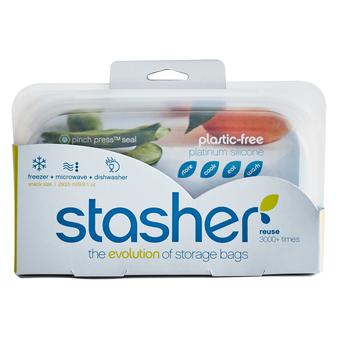 美國 Stasher 長形矽膠密封袋 (雲霧白)