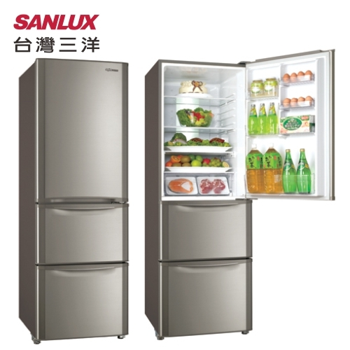 SANLUX 台灣三洋 SR-B380CVF 直流變頻冰箱 380L 三門 能源效率1級 (鈦金色)