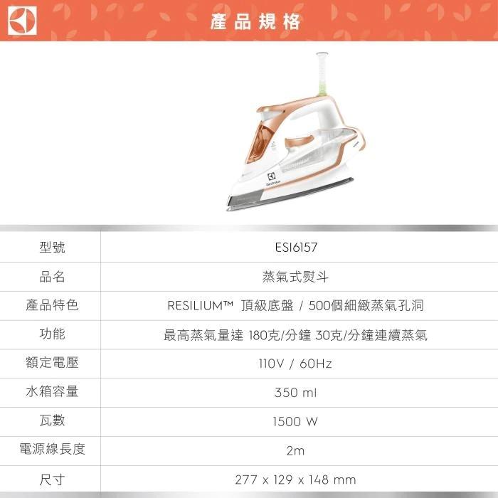 Electrolux 伊萊克斯 ESI6157 電熨斗 垂直整燙底盤不滴漏 500個細緻蒸氣孔洞