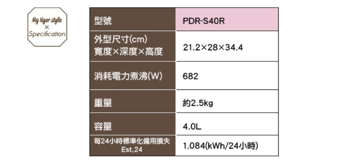 TIGER 虎牌 PDR-S40R 4公升4段溫控微電腦電熱水瓶