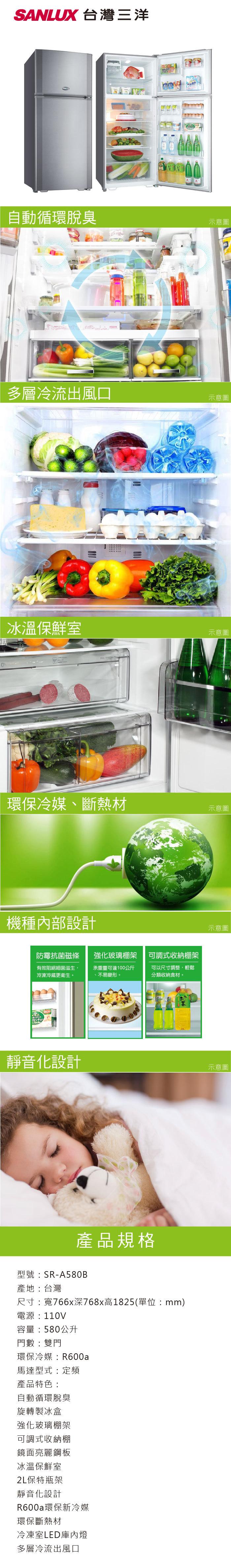 SANLUX 台灣三洋 SR-A580B 冰箱 580L 自動循環脫臭 冰溫保鮮室 定頻