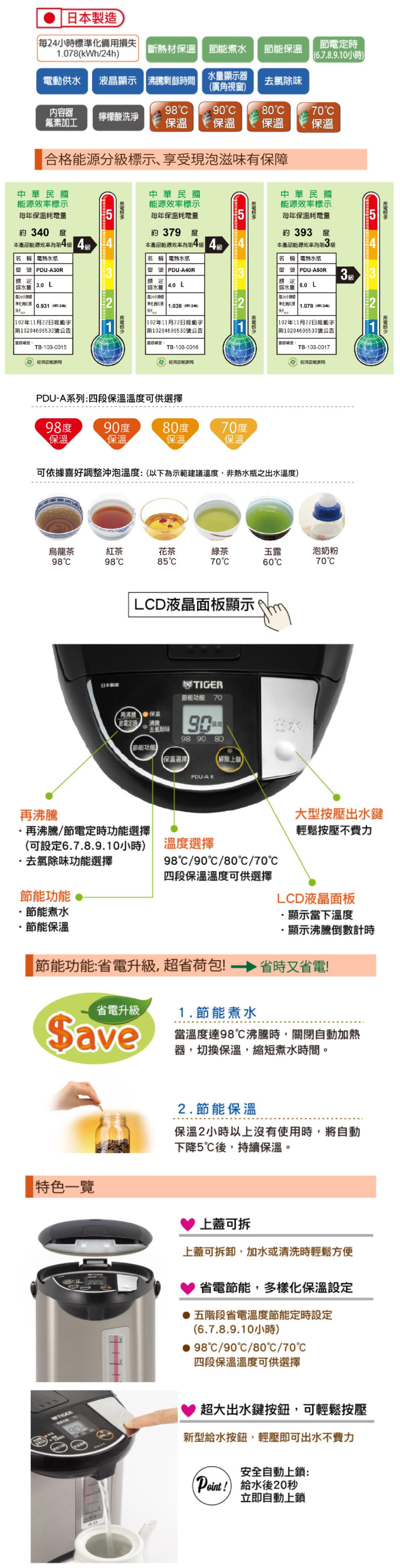 TIGER 虎牌 PDU-A50R 5.0L微電腦大按鈕熱水瓶