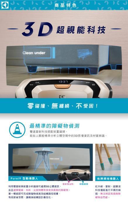 Electrolux 伊萊克斯 PI91-5SSM 吸塵器 掃地機器人 3D超視能科技